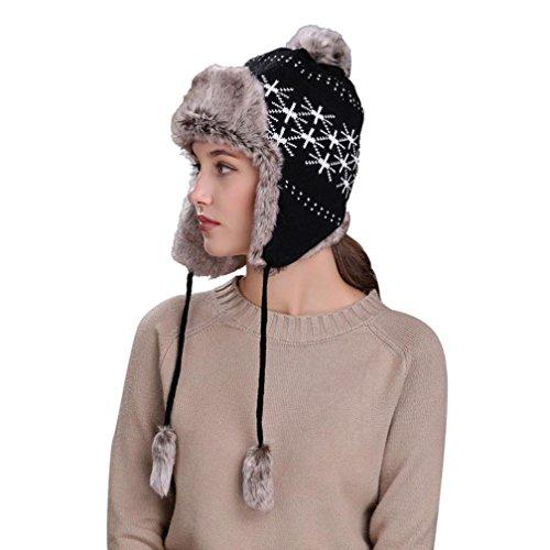 QinMM Sombrero De Lana De Punto Grueso Mujer, Gorro De Esquí De Nieve Caliente Invierno con Orejeras Hat