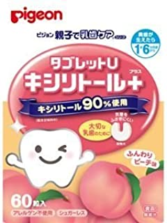 (まとめ買い)ピジョン 親子で乳歯ケア タブレットU ふんわりピーチ味 60粒 1歳6ヶ月頃から×4セット