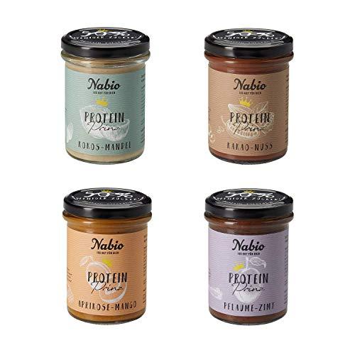 NABIO ProteinPrinzen Mixkarton, 4 Sorten: Kakao Nuss, Kokos Mandel, Pflaume Zimt, Aprikose Mango, Selection, 720 g