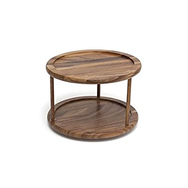 Lipper International 1302 Acacia Wood 2-Tier 10  Kitchen Turntable