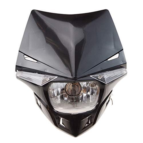 GOOFIT Schwarz H4 12V 35W Scheinwerfer Mini Blinkerleuchten Lichtmaske mit Front Verkleidung Ersatz für Motorrad Motocross Racer ATV Motorrad Dirtbike Pocketbike