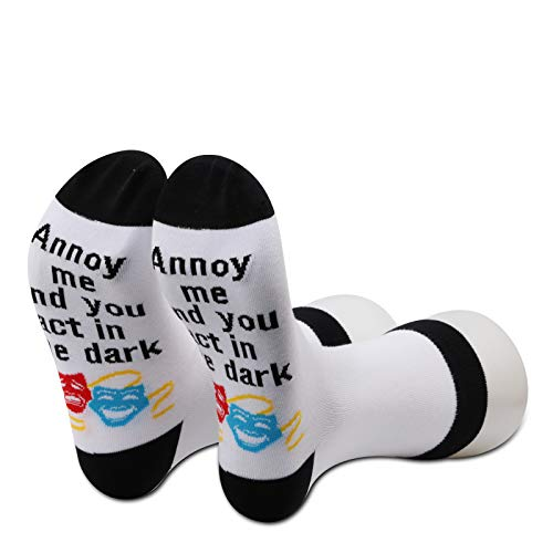 G2TUP Funny Theatre Gift Theater Backstage Crew Socks Annoy Me And You Act In The Dark Socks for Stage Manager Stage Geeks (Annoy Me)