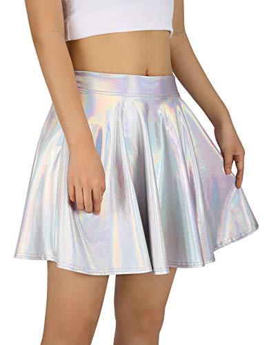 HDE Women's Shiny Liquid Metallic Holographic Pleated Flared Mini Skater Skirt (Holographic, Medium)