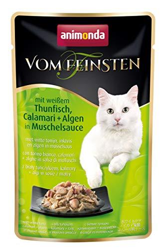 animonda Vom Feinsten Adult Katzenfutter, Nassfutter für ausgewachsene Katzen, mit weißem Thunfisch, Calamari + Algen in Muschelsauce, im Frischebeutel, 18 x 50 g