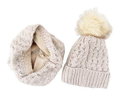 Novadis Set invernale da donna e ragazza, berretto con pompon e collo rotondo in lana beige