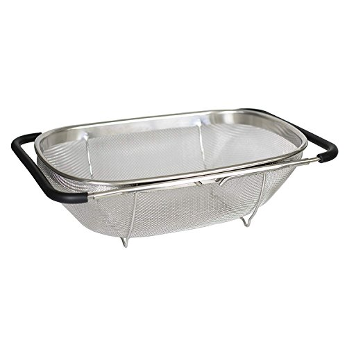 i Kito Over the Sink Colander with Expandable Rubber Grip Handles - Fine Mesh Oval Strainer in Stainless Steel -Drain Rinse Fruits and Vegetables