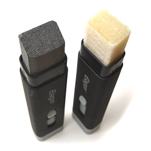 Elagon (SCF) Guitarra Pro Care Kit accesorio limpiador y lubricante de cuerdas. Uno tiene dos lados; el lado gris sirve para limpiar, y el blanco sirve como lubricante. La barra tiene varios propósitos: mantiene las cuerdas limpias, en buen estado y brillantes, a la vez que alarga su vida útil. Además, ayuda a preservar el tono sonoro de las cuerdas al minimizar el desgaste por oxidación (causada por el sudor), aparte de maximizar el confort y la velocidad al tocar.