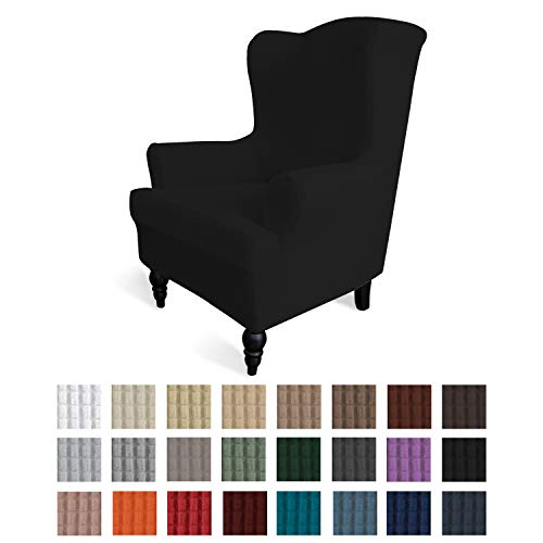 Easy-Going Stretch Wingback Chair Sofa Slipcover 1-Piece Sofa Cover Furniture Protector Couch Soft with Elastic Bottom Spandex Jacquard Fabric Small Checks(Wing Chair,Black)