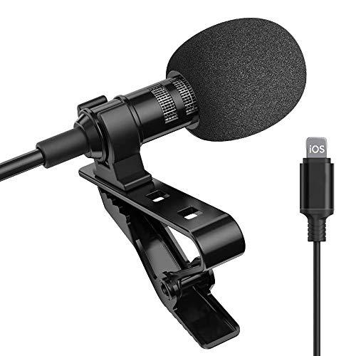 Lavalier Microphone à cravate à clip, microphone à condensateur, micro professionnel ultra-compact pour iPhone et iPad pour Youtube, Interview, Conférence (noir)