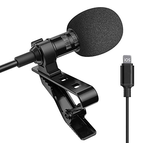 Lavalier Lapel microphone, Clip-On Microphone, Condenser Mic, Ultra-Compact Professional Lavalier Microphone for iphone & ipad for Youtube, Interview, Conference (black)