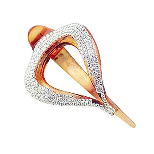 Vektenxi Mode Frauen Glänzende Strass Blattform Dame Geschenk Haarspange Haarnadel Clip Haarschmuck Kreative und Nützliche