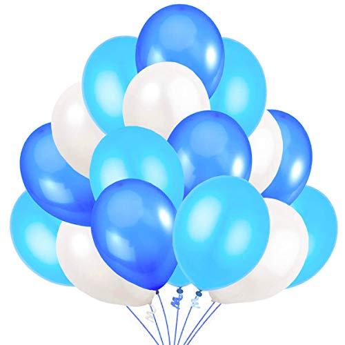Jonami 100 Luftballons Blau Weiß Hellblau Ballon Premiumqualität 30 cm Partyballon Deko Babyblau Himmelblau Dunkelblau. Dekoration fur Geburtstags, Baby Shower, Baby Dusche Party