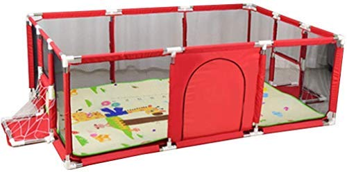 HAOT Parc pour Enfants Baby Fence Play Area Infant Crawl Toddler Fence Baby Pliable Safety Play Yard with Mat Indoor and Outdoor Hauteur 66cmBlue / Red (Color: Red)
