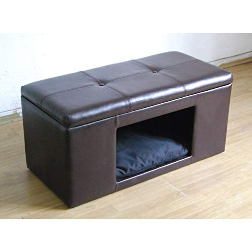 MISC Brown Cat Ottoman Hidden Bed Bench Cozy Pet Home for Cats & Small Dogs Enclosed Cat Bed Hideaway Beds Cave Feline Cuddly Kitty House Fur Babies Inclosed, Faux Leather Wood
