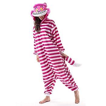 Beauty Shine Unisex Adult Cartoon Costume Halloween Onesies Plush Cosplay Pajamas…  Cheshire Cat Large