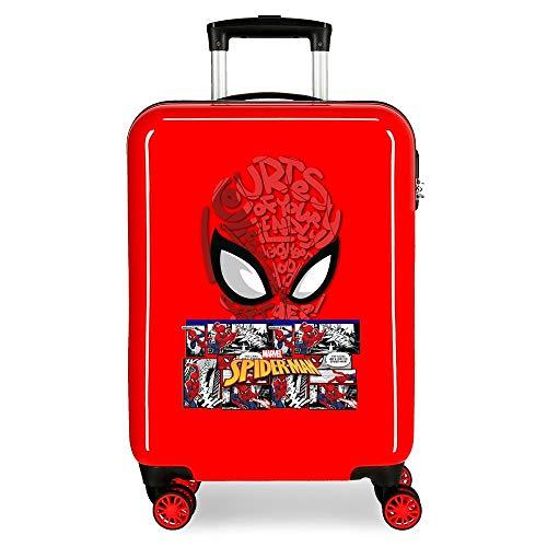Marvel Spiderman Comic Maleta de Cabina Rojo 38x55x20 cms Rígida ABS Cierre de combinación Lateral 34L 2,66 kgs 4 Ruedas Dobles Equipaje de Mano