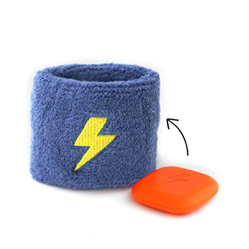 Super8 Hydration Reminder + Sweatband | Hydration timer inside sweatband vibrates discreetly to remind kids to drink water throughout the day and develop healthy water drinking habits (Blue/Yellow)