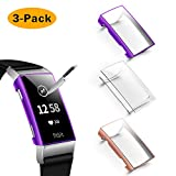 NANW Screen Protector Compatible with Fitbit Charge 4 / Charge 3, 3 Pack Soft Slim Full-Around Protective Charge 3 Case Cover Bumper for Charge 4 / Charge 3 / Charge 3 SE Smartwatch (Clear+Rosegold+Purple)