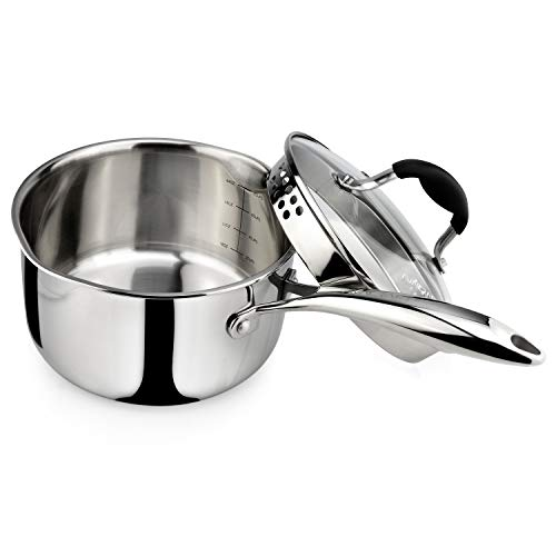 AVACRAFT Top Rated Tri-Ply Stainless Steel Saucepan with Glass Strainer Lid, Two Side Spouts, Ergonomic Handle, Multipurpose Sauce Pan with Lid, Sauce Pot, Cooking Pot (Tri-Ply Full Body, 2.5 Quart)