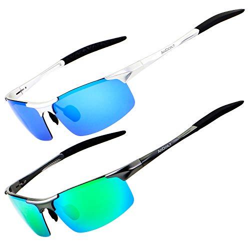 ANDOILT Gafas de Sol Polarizadas para Hombre Deportivas Protección UV Súper Ligero Al-Mg Marco De Metal Plateado Marco Azul Lente Gris Marco Verde Lente
