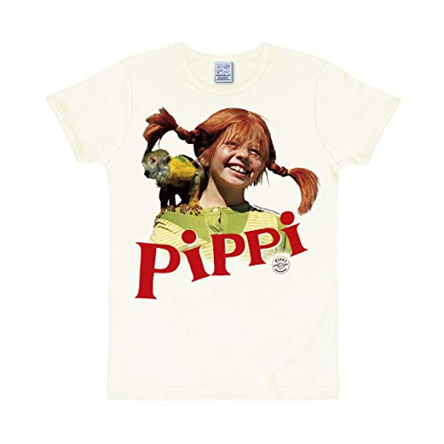Logoshirt Pippi Langstrumpf Herren/Jungs T-Shirt I Grafik-Shirt kurzärmlig mit Rundhalskragen I Lizenziertes Originaldesign I Logo-Print langlebig & hochwertig I Baumwolle I Vintage-Stil