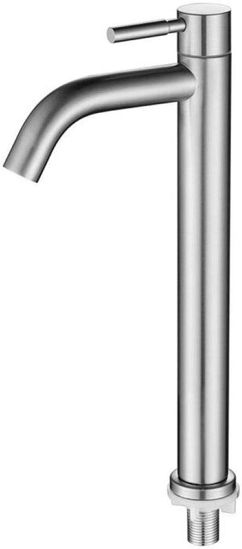 Warm- Und Kaltwasserküche, Chrom, Einzelner Kalter Wasserhahn Des Beckens Gebürsteter Gebogener Mund Des Edelstahls 304 über Gegenbassinwaschbeckenbassin