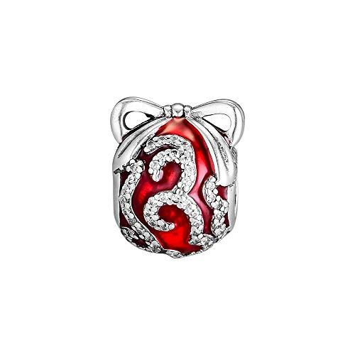 Joyería De Plata De Ley 925 para Mujer Esmalte Rojo Adorno Brillante Abalorios para Pulseras Pandora Europeas Collares Fabricación De Joyas DIY