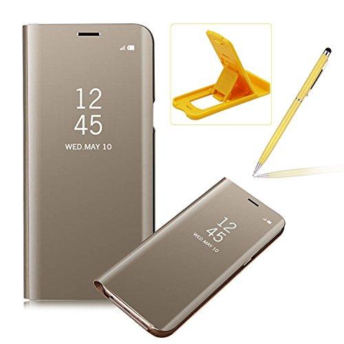 Coque Galaxy S7 Clapet, Herzzer Housse Étui en PU Cuir Luxe Placage Technologie avec Transparente Miroir Design Bumper Dur PC Backcover Protector Fonction Stand pour Samsung Galaxy S7 - Or
