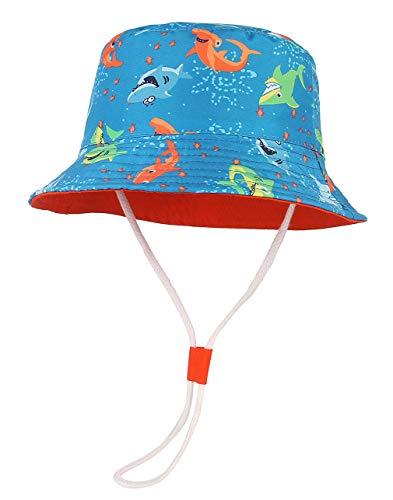 GeMVIE - Sombrero para bebé o niña, protección UV, de algodón, plegable, estampado de animales y flores, para playa, verano y viaje Azul oscuro. Cabeza de la torre:54 cm