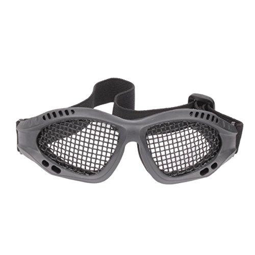 GES Tactical Militar gafas de malla de metal de disparo de gafas de caza de protección para Airsoft Tactical Half Face Mask (Negro)