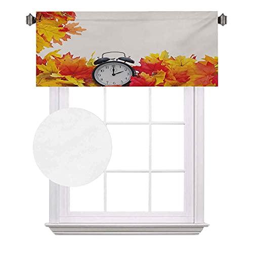 Cenefas de bolsillo para barra, hojas otoñales y un reloj despertador, impresión digital romántica, impermeable y lavable, para ventana pequeña, 100 x 45,7 cm, blanco y naranja