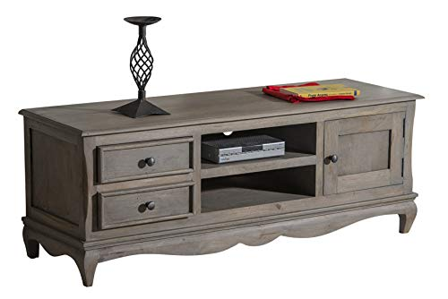 Oak and Pine Online Bordeaux Antique Grey Solid Mango Shabby Chic Vintage Flatscreen Plasma Tv Bench Cabinet Stand Unit Living Room Living Dining Room Furniture