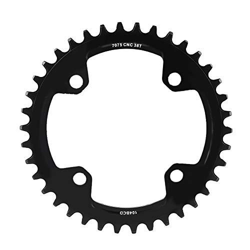 Alomejor Fahrrad Kettenblatt 32/34/36/38T BCD 104mm Stahl Einzel Kurbelkette Ring Ersatzteile für Mountainbike(38T-Schwatz)