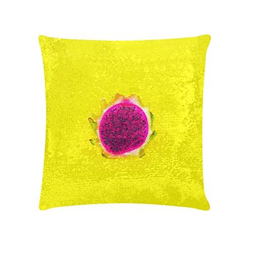 Funda de almohada para niña Funda de almohada de lentejuelas de fruta de dragón roja y blanca recién cortada Cubierta de 18 x 18 pulgadas Funda de almohada brillante brillante reversible Decoración p