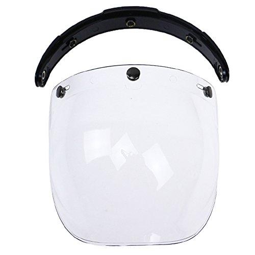 casco moto 3 KKmoon Visiera Parabrezza Bubble 3-Snap per Casco Moto Biltwell Gringo Bonanza Trasparente