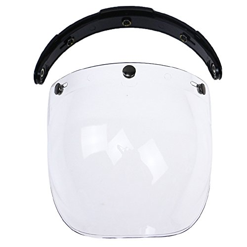 KKmoon Visiera Parabrezza Bubble 3-Snap per Casco Moto Biltwell Gringo Bonanza Trasparente