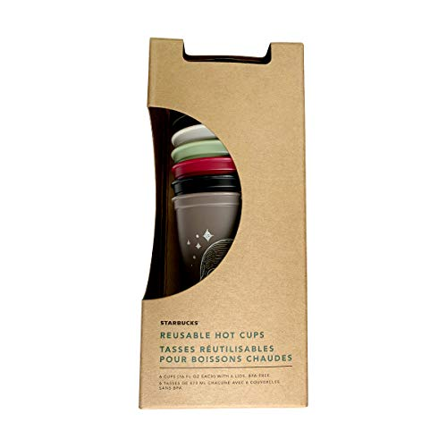 Starbucks Reusable Hot Cup Collection Pack Of 6 W/Lids 16 oz...