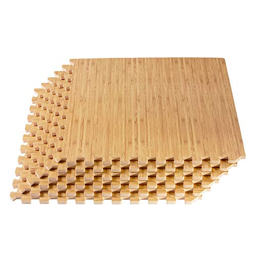 FOREST FLOOR 5/8 Inch Thick Printed Foam Tiles, Premium Wood Grain Interlocking Foam Floor Mats, Anti-Fatigue Flooring, Light Bamboo, 100 Sq Ft (FF24-15M)