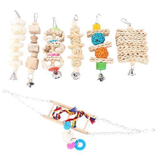 TEHAUX Parrot Bite- 7 piezas divertido puente colgante juguete pájaro loros jugando pelota de ratán juguete jaula accesorio
