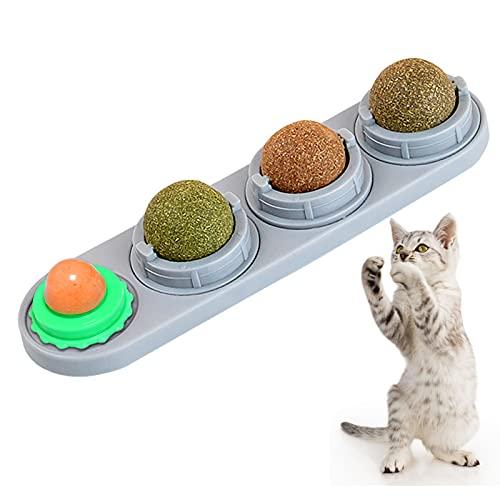 Katzenminze Ball für Katzen Set,Katzenminze Bälle für Katzen,Essbare Katzenminze-Bälle,4 in 1 Katzenminze Ball für Katzen Set,Drehbare Katze Süßigkeiten,Katzenspielzeug,Katzenminze Spielzeug(grau)
