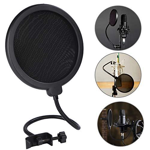Filtros de Micrófono, Micrófono de Estudio Pantalla de Viento Protector de Sonido de Doble Capa Protector de Viento con Cuello de Cisne Flexible de 360 Grados (6 Pulgadas)
