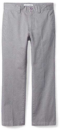 Amazon Essentials Jungen Uniform Straight-Fit Flat-Front Chino Khaki Pants, Grau, 5 (R)