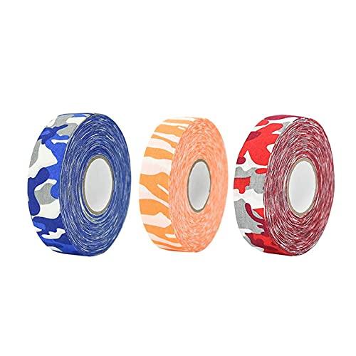 Cinta de hockey 3 piezas de cinta de patrón de camuflaje, cinta de hockey sobre hielo colorido, habilidades antideslizantes de alta viscosidad, cinta de hockey sobre hielo, cinta de hockey sobre hielo
