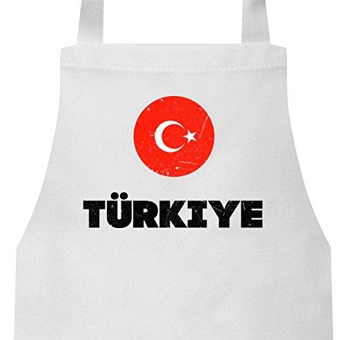 ShirtStreet Wappen Türkiye Ankara Länder Frauen Herren Barbecue Baumwoll Grillschürze Kochschürze Flagge Türkei, Größe: onesize,Weiß