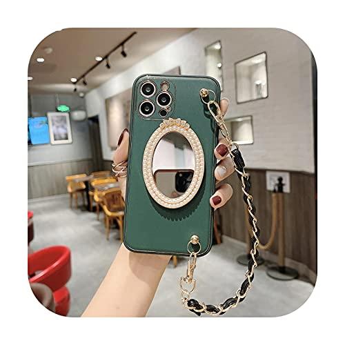 Caliente lujo cuero perla diosa maquillaje espejo teléfono caso para iphone 12 11 Pro Max X XS XR Max 7 8 Plus moda chica muñeca cubierta - 8-para iphone 12