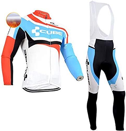 TIDH Invernale Abbigliamento Termiche Ciclismo Set Sportivo, Maglia Ciclismo Maniche Lunghe Pantaloni Lunghi per Bicicletta (XXL, Cube-Red)