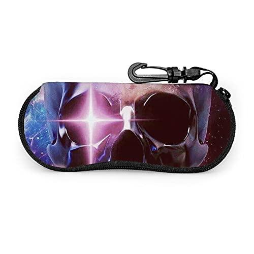 Estuche de gafas con cremallera Earth Skull Universo Anti-Scratch portátil viaje suave horizontal gafas caso para hombres y mujeres