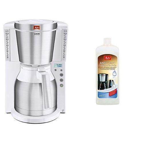 Melitta Kaffeefiltermaschine Look Therm Timer, Kalkschutz, Timer, weiß/Edelstahl 101115 + Melitta 192618 Flüssigentkalker