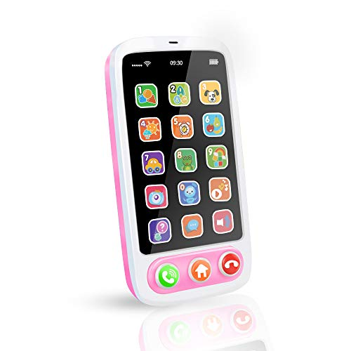 Byserten Baby Phone, Baby Cell Phone Toy with Lights & Music, 12 Months Early Learning Educational Toys, Sensory Toys for Toddlers 2 3 4 Year Old Kids Boys and Girls Gifts Pink