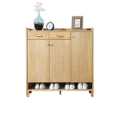 yaunli Zapatero para puerta de casa, gran capacidad, simple, integrado, multifuncional, para balcón, mueble de madera (color: natural, tamaño: 110,6 x 35 x 106 cm)